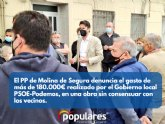 El PP denuncia el gasto de más de 180.000? realizado por el Gobierno local PSOE-Podemos, en una obra sin consensuar con los vecinos