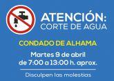AVISO: corte de agua en Condado de Alhama el 9 de abril
