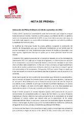 Valoración del Pleno Ordinario del 28 de septiembre de 2021. IU-verdes Alhama de Murcia
