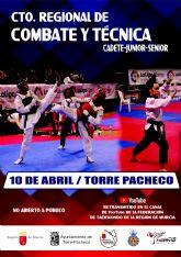 Torre Pacheco acoge el Campeonato Regional de Combate y Técnica y los Premios al Taekwondo Región de Murcia el sábado 10 de abril