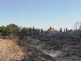 Incendio agrícola en Caravaca de la Cruz