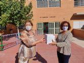 Nota de prensa sobre reparto de mascarillas en centros docentes de Molina de Segura