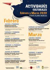 Fuente Álamo da a conocer el programa cultural para los meses de febrero y marzo de 2020