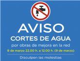AVISO: Corte de agua en el n�cleo urbano de Alhama