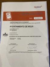 El Ayuntamiento de Mula recibe la acreditación ISO 9001 de Calidad de Formación