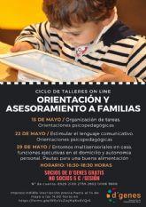 D´Genes organiza un ciclo de talleres on line sobre Orientación y asesoramiento a familias con tres sesiones los días 15, 22 y 29 de mayo
