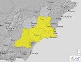 Meteorología emite aviso amarillo por tormentas mañana en el Guadalentín, Campo de Cartagena y Vega del Segura