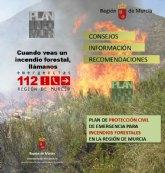 El nivel de riesgo de incendio forestal previsto por la Aemet es hoy muy alto en toda la Región, Cieza incluida
