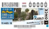 El municipio de Alcantarilla protagoniza el cupón de la ONCE del próximo miércoles 15 de agosto