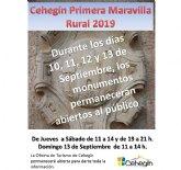 Los monumentos de Cehegín permanecerán abiertos al público los días 10,11,12 y 13 de septiembre