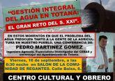 La charla-coloquio Gestión integral del agua en Totana: el gran reto del S. XXI tendrá lugar el próximo viernes 16 de septiembre