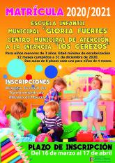 Abierto el plazo de matr�cula 2020-2021 para la Escuela Infantil Gloria Fuertes y CAI Los Cerezos