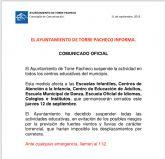 Se suspenden las clases el jueves 12 de septiembre en Torre Pacheco