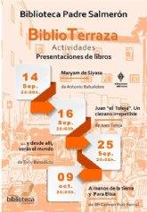 Los exteriores de la biblioteca municipal acogerán las presentaciones de cuatro libros