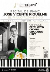 José Vicente Riquelme ofrece el recital EL PIANO ROMÁNTICO el jueves 12 de noviembre en el Teatro Villa de Molina