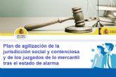 El Gobierno pondrá en marcha un plan de agilización de la jurisdicción social y contenciosa y de los juzgados de lo mercantil tras el estado de alarma