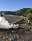 Incendio agrícola en Mula