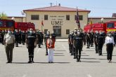 Unidades de la UME y el Ejército del Aire en la lucha contra incendios forestales reciben a la ministra Robles