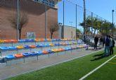 El campo municipal de fútbol 7 junto a la Casa de la Cultura ya tiene su nuevo graderío