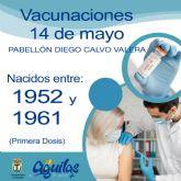 El próximo viernes, 14 de mayo, recibirán la primera dosis de la vacuna contra el COVID los nacidos entre 1952 y 1961 en el Pabellón Diego Calvo Valera