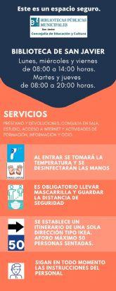 La biblioteca de San Javier amplía sus servicios a partir del próximo 15 de junio