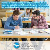 Nuevas Generaciones piden la reapertura de las aulas de estudio en Molina de Segura, reforzando las medidas de prevención como está establecido