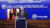 Víctor Martínez: 'Exigimos al Gobierno de Sánchez que libere ya los 11,3 millones de euros presupuestados para la autovía Zeneta-Santomera'