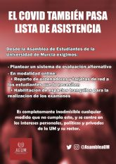 [The Student Assembly of the University of Murcia (AEUM) requires the non-presential modality for their exams