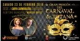 El Gran Pregón del Carnaval de Totana 2019 tendrá lugar el sábado 23 de febrero