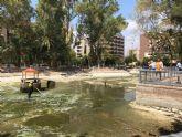 El Ayuntamiento realiza una limpieza exhaustiva de los principales lagos de Murcia.
