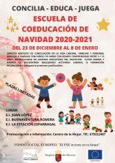 El Ayuntamiento organiza una escuela de coeducación de Navidad gratuita para ayudar a la  conciliación de las familias del municipio