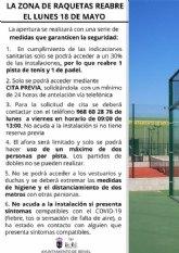 La Zona de Raquetas abre el lunes 18 de mayo