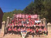 Autoridades municipales asisten al acto de la Ofrenda Floral de las Bases del Club Olímpico de Totana, en el santuario a la Patrona, Santa Eulalia de Mérida