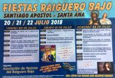 Las fiestas del Raiguero Bajo, en honor de Santiago Apóstol y Santa Ana, se celebran el próximo fin de semana del 20 al 22 de julio