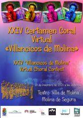 El XXIV Certamen Coral Virtual Villancicos de Molina se celebra el sábado 19 de diciembre con la participación de ocho coros de Costa Rica, Brasil, Madrid y Murcia