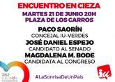 IU-Verdes convoca un encuentro con los candidatos de Unidos Podemos en la Plaza de los Carros de Cieza