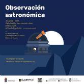 El programa UN VERANO DE RETOS, de la Concejalía de Juventud de Molina de Segura, ofrece como primera actividad una observación astronómica el viernes 26 de junio