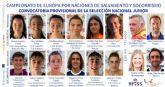 Socorristas de diez clubes forman la convocatoria provisional de la Selección nacional junior para el Europeo de Salvamento y Socorrismo