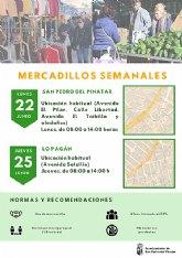 Los mercadillos semanales de San Pedro y Lo Pagán retoman sus ubicaciones habituales