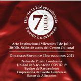 El Ayuntamiento de Puerto Lumbreras conmemorará el día de la Independencia, con un acto de reconocimiento en torno a la superación de la pandemia por la COVID-19