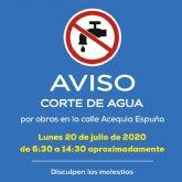 AVISO: corte de agua potable el lunes 20 de julio en varias zonas del municipio de Alhama