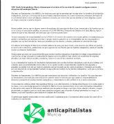 Anticapitalistas Murcia denuncia el no inicio de los servicios de comedor en algunos centros educativos del municipio Murcia