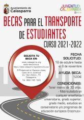 El Ayuntamiento de Calasparra anuncia las ayudas a estudiantes para transporte curso 2021/2022