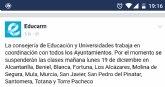 ÚLTIMA HORA: La Consejería de Educación comunica la suspensión de las clases mañana en los centros educativos de Totana