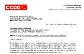 CCOO hace pública una carta para aclarar la situación laboral en Limusa