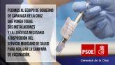 El PSOE pide al equipo de Gobierno que ponga todas las instalaciones y la logística necesaria a disposición del SMS para agilizar la campaña de vacunación