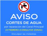 AVISO: Cortes de agua en diversas zonas el martes 23 de febrero