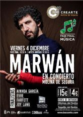 La fase final de la modalidad de música del Certamen de Creación Artística Joven CREARTE 2020 de Molina de Segura se celebra el viernes 4 de diciembre con MARWAN como artista invitado