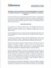 Propuestas del Grupo Municipal Popular con medidas para afrontar la crisis económica por el COVID19