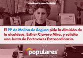 El PP de Molina de Segura pide la dimisión de la alcaldesa, Esther Clavero Mira, y solicita una Junta de Portavoces Extraordinaria